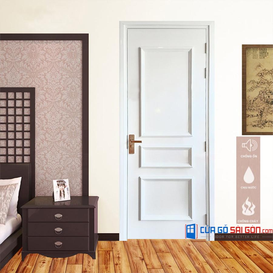 Cửa nhựa phòng ngủ giả gỗ hiện đại, sang trọng