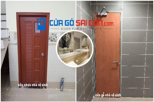 Hình ảnh thực tế cửa nhà vệ sinh bằng gỗ và nhựa
