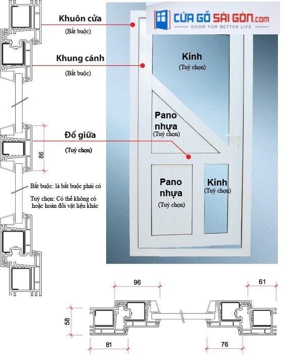 Bản vẽ thiết kế cửa đi nhựa Hàn Quốc 1 cánh