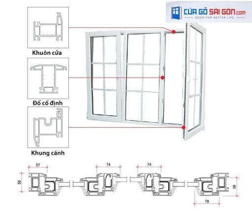 Bản vẽ thiết kế cửa nhựa Hàn Quốc 3 cánh