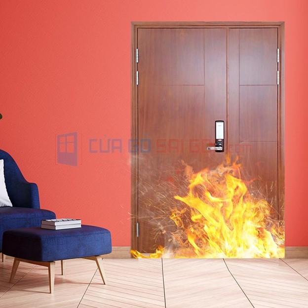 cửa thép chống cháy 2P ván gỗ