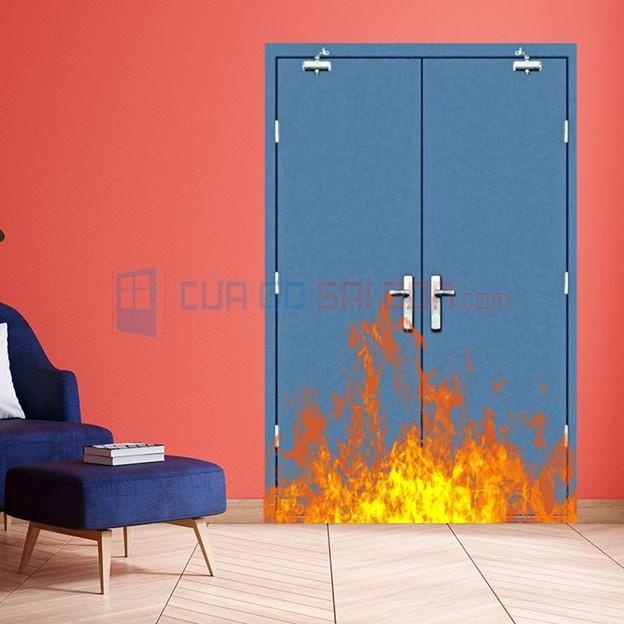 Cửa thép chống cháy 2P có 2 thủy lực