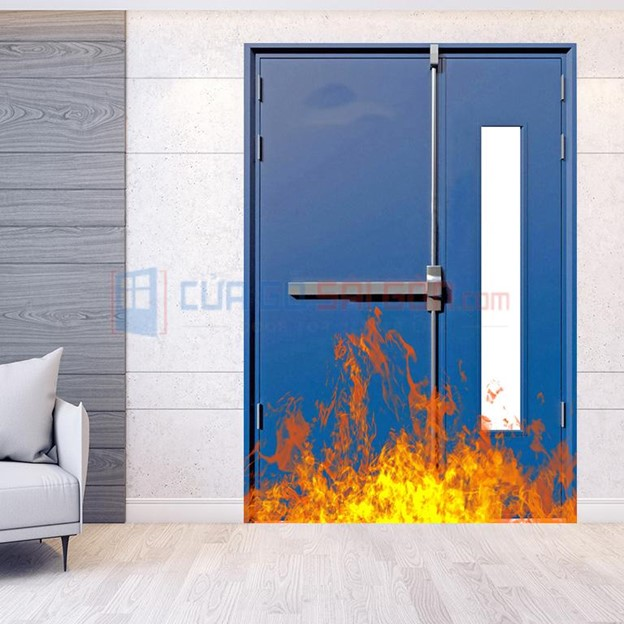 Cửa thép chống cháy 2P dùng 2 nắm cửa