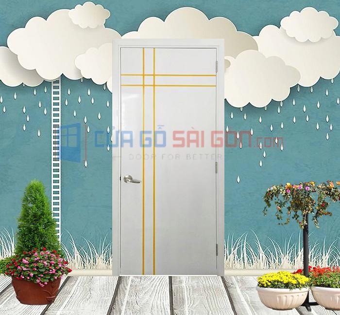 Mẫu cửa gỗ nhựa composite cao cấp màu trắng viền vàng